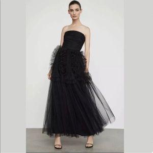BGCG MaxAzria Black Strapless Ruffle-Trimmed Gown